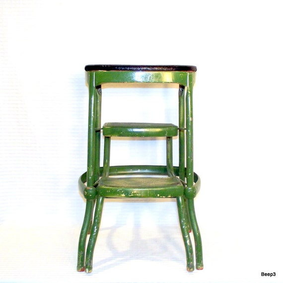 Cosco Chippy Red Metal Kitchen Cart Movable Painted Vintage: Vintage Green Metal Cosco Folding 2 Step Stool By CityBeepster