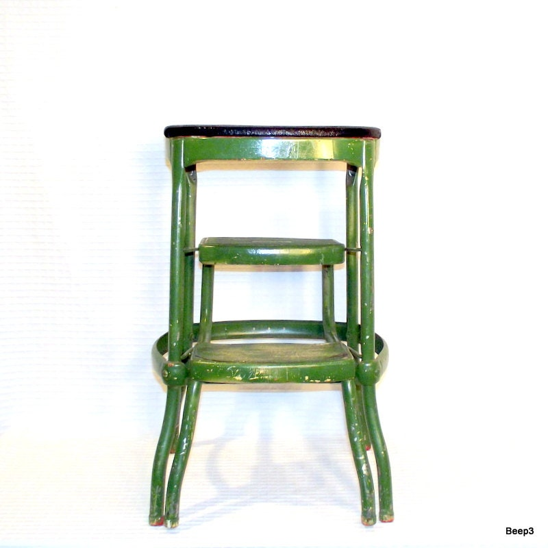 Vintage Green Metal Cosco Folding 2 Step Stool By Citybeepster