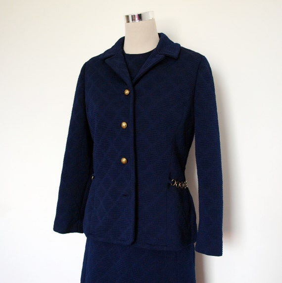 60's Suit - Patrick Porter - Rona New York - Designer Vintage - Navy Blue Dress and Jacket With Gold Chain And Buttons.