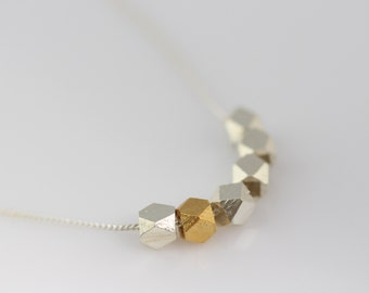 GOLD and Sterling Silver Nuggets Necklace. Two tones nuggets necklace, Simple Minimalist Necklace. Delicate Modern Minimal Everyday Necklace