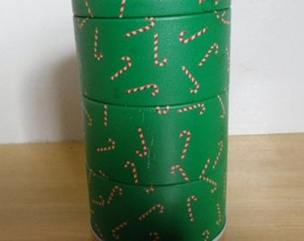Vintage Tin - Christmas Tin,  Candy Cane Tin, 3 Sections, Made in Taiwan, Christmas Decor