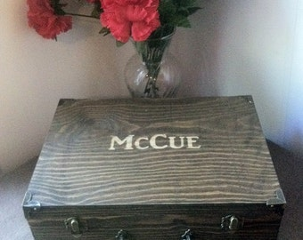 Rustic Groomsmen Gift - Laser Engraved Name - Fill With Gifts - Keepsake Chest - Stained and Personalized Wooden Box