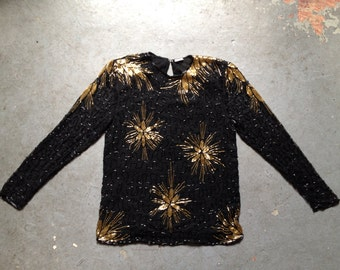 vintage 1980s silk top with beaded starburst flowers. super glam cocktail blouse. retro clothing.