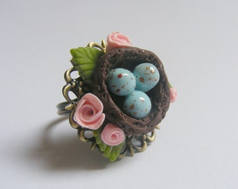 Birds Nest Ring, Eggs in a nest ring, Miniature Food Jewelry, Mini Food Jewelry, Spring Ring, Little Bird Ring Nature Lover Ring Robins eggs