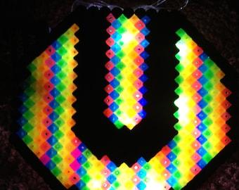 Led ULTRA Music FESTIVAL Necklace -  Kandi rainbow Miami bright Rave club umf electric edm light toy flash