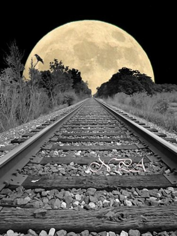 Railroad Tracks to the Full Moon with Crow Matted Picture A256