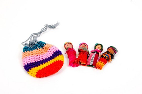 Worry Dolls in Crochet Bag Handcrafted Fair Trade