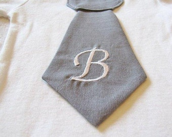 Baby boy tie one piece bodysuit with custom embroidered initial, gray, photo prop, baby boy fashion