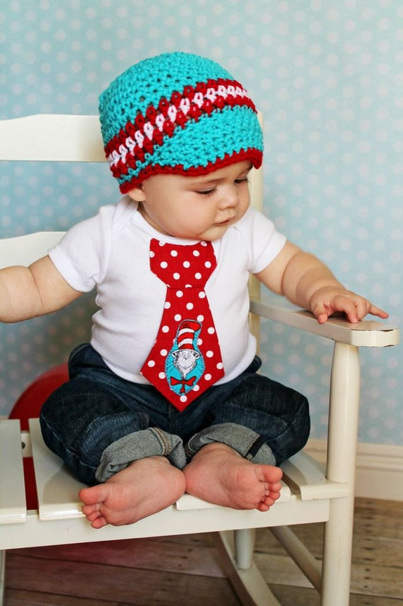Baby Boy Tie One Piece Bodysuit And Crochet Hat Set Cat And