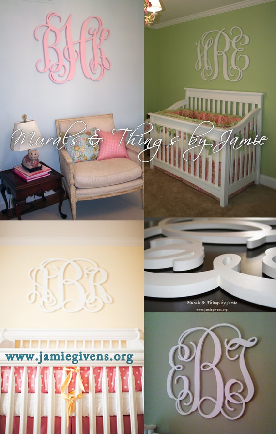 """Up to 48"""" Large UNFINISHED Wood Monogram, 3/4"""" depth, all hanging hardware, wall bumpers, stencil, hanging/painting instructions included."""
