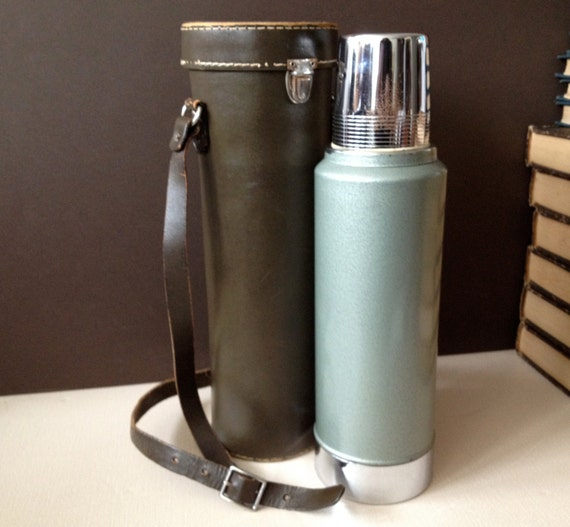 Vintage Stanley Aladdin Coffee Thermos Leather Carry Case