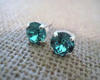 Light Turquoise Swarovski Crystal Stud Earrings/Blue Crystal Studs/Bridesmaid Jewelry/Swarovski Studs/ Turquoise Crystal Studs/ 8mm Studs