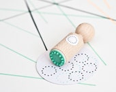 Dotted Circle border Mini Stamp with mint rubber