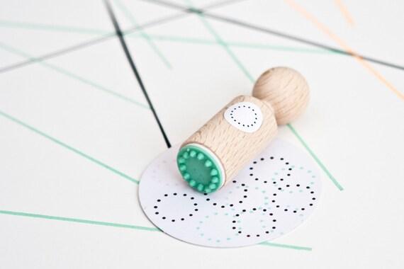puntjes cirkel rand mini stempel met mintkleurig rubber