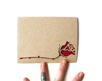 Valentine Card: Laser Cut Rose--Custom text
