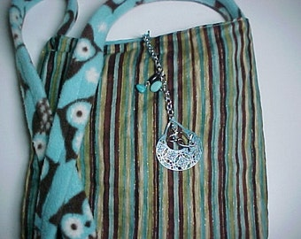 "Crossbody iPad  Bag  Reversible Washable "" Cozy Owls ""   Sling Purse with Keychain / Bagcharms"