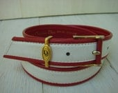 CHRISTIAN DIOR red and white Leather high waist belt size SMALL