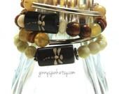 Dragonfly Garden Elastic Stack Bracelets - Wooden Dragonfly Beads & Silver Tube Bracelets - Stack Bracelets