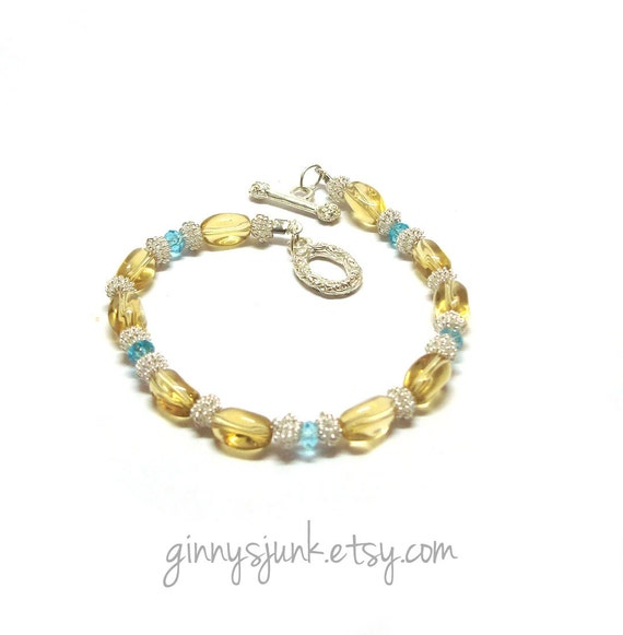 CLEARANCE - Sunshine Yellow, Silver & Teal Bracelet