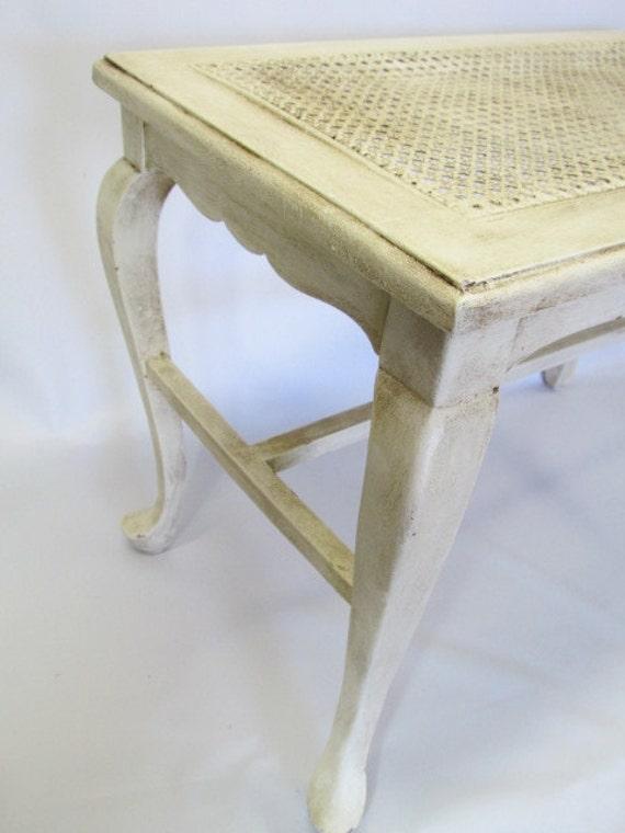 Vintage Cane Seat Wood Bench