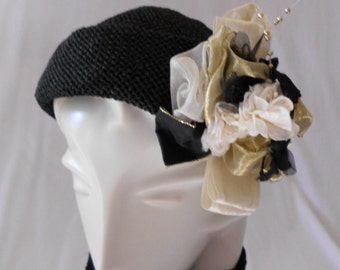 Gatsby  Cloche Hat  Big floral statement on the side