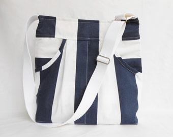Navy and White Massenger Bag