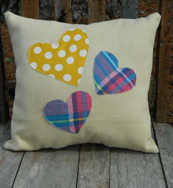 Happy Heart Triple Heart Pink, Blue, and Yellow on Tan Fabric Pillow