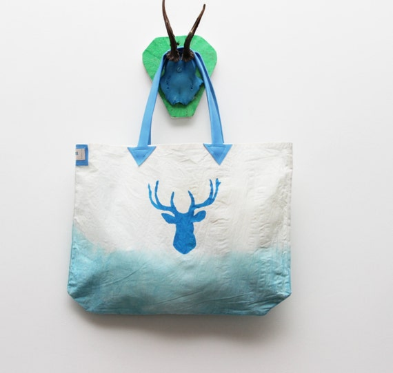 50% off N O D E E R / White & Blue cotton and leather tote bag- Ready to Ship - Christmas Sale