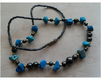 Genuine Turquoise Nugett Necklace  1970's