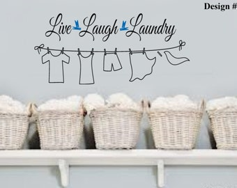 LIVE LAUGH LAUNDRY Clothes Line Vinyl Wall Lettering Quotes Words Decal Large 36wx16H Laundry Room
