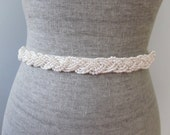Pearl braid Beaded Sash / belt, Ivory or White beaded wedding sash, Nautical Knot sash