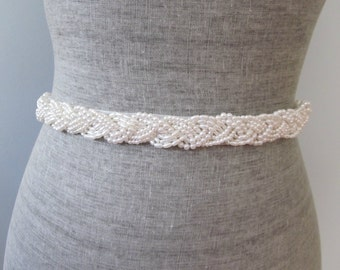 Pearl Braid Beaded Wedding Sash / Belt, Ivory or White Beaded Nautical Knot Sash