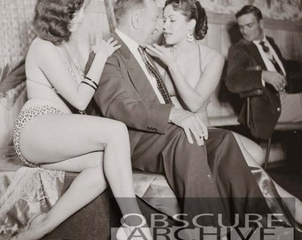 LOUNGE MAN - two adoring women fight for his attention  - 1950's Photograph