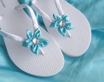 Aqua Blue Floral Bridesmaids , Bridal Wedding Flip Flops , Bridal Shower, Flower Girl, Birthday Party, Favor