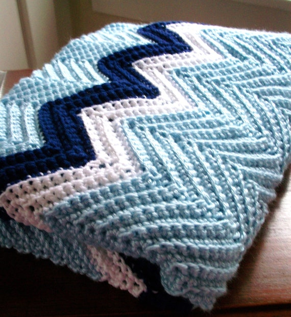 Crochet Zig Zag Afghan : ... Crochet Chevron Blanket Afghan in Blue, Navy and White Zig Zag on Etsy