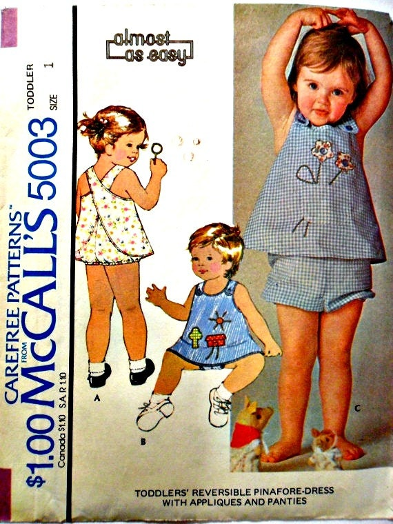 Toddler Reversible Pinafore Apron Dress with Appliques and Panties Diaper Cover McCalls 5003 Size 1