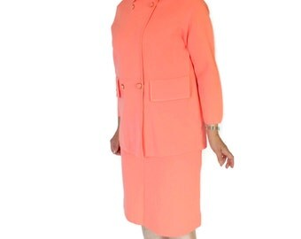 1960s Knit 2 Piece Skirt Set by Puccini Wool Jacket Skirt Set in Salmon Corall Color. Mad Men Fashion. Mother's Day