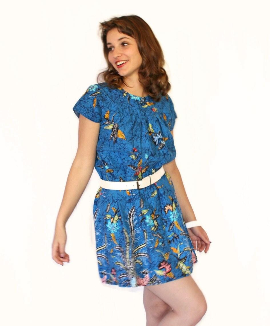 70s Summer Dress For Women Vintage Mini Dress In Royal Blue