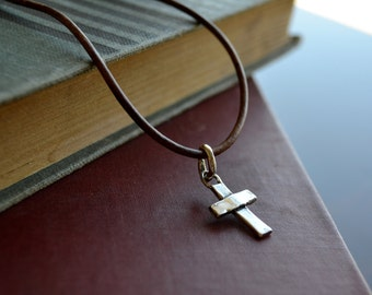 Artisan Sterling Silver Cross on Leather Cord Necklace