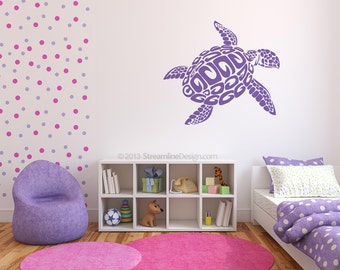 Huge Sea Turtle 4 Feet Wide Vinyl Wall Art, nautical sea life giant turtle sticker turtle wall art ocean decor beach house turtle lover