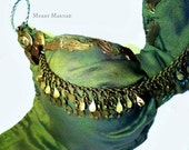 Green silk Tribal Fusion Belly Dance bra - Thyiades - size 38-40 C. OOAK dance costume