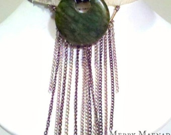 Boho marble & chain ribbon choker necklace. Womens OOAK handmade jewelry.