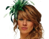 Emerald Green and Teal Feather Fascinator Hat - wedding, ladies day - choose any colour feathers & satin