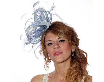 Pale Blue Sinamay Feather Fascinator Hat - wedding, ladies day - choose any colour feathers & sinamay