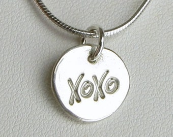 XOXO Charm Silver Hugs & Kisses Charm, valentines day gift, xoxo necklace, hugs and kisses necklace