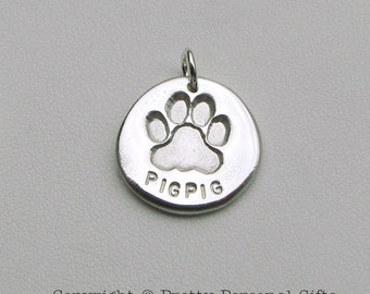 Personalized Silver Dog Paw Charm  -  great gift for dog lovers