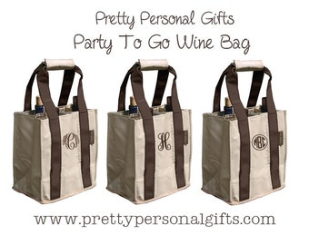 Wine Tote, Wine Carrier,  Personalized Wine Tote Bag in Brown