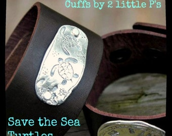 Beach Jewelry, Turtle Jewelry, Gift for Her ~ Pure Fine Silver Unisex Save the Sea Turtles Leather Cuff