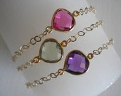 Bezel set quartz gemstone bracelet in gold, 14kt gold filled chain...STACKABLE...AMAZING. bridesmaid gift