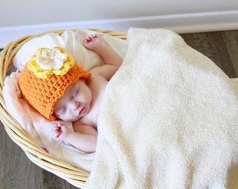 Newborn Baby Girl Hat Newborn Baby Hat Newborn Hat Newborn Girl Baby Girl Clothes Photo Prop Photography Prop Orange Yellow Cream Baby Gift